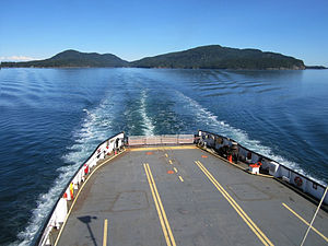 Saturna Island - M/V Mayne Queen departing Lyall Harbour, on Saturna Island.