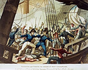 HMS Shannon (1806) - Captain Broke leads the boarding party aboard Chesapeake