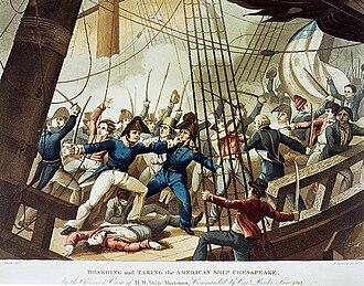 HMS Shannon (1806) - Captain Broke leads the boarding party aboard Chesapeake