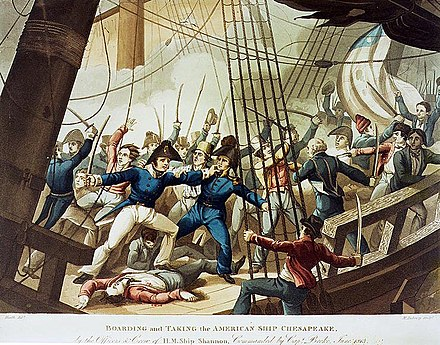 Captain Broke leads the boarding party to USS Chesapeake. The British capture of the Chesapeake was one of the bloodiest contests in the age of sail. M Dubourg, Boarding and Taking the American Ship Chesapeake, by the Officers and Crew of H.M. Ship Shannon, Commanded by Capt. Broke, June 1813 (c. 1813).jpg