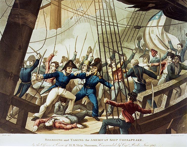 M Dubourg, Boarding and Taking the American Ship Chesapeake, by the Officers and Crew of H.M. Ship Shannon, Commanded by Capt. Broke, June 1813 (c. 1813)