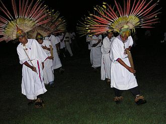 Isiboro Sécure National Park and Indigenous Territory - Macheteros, a typical dance of Beni, performed by local Moxos people in Isiboro Sécure National Park, 2004