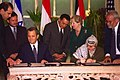 Madeleine Albright, Hosni Mubarak, Ehud Barak, Yasser Arafat, and Abdullah II of Jordan in Sharm-El-Sheikh, Egypt for the signing ceremony.jpg