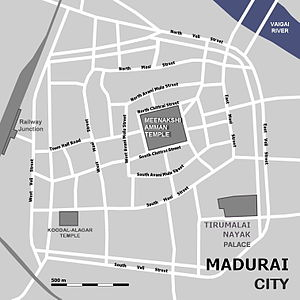 Meenakshi Temple - The temple and the city of Madurai (only major roads sketched).