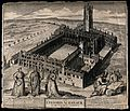 Magdalen College, Oxford; bird's eye view with academic figu Wellcome V0014116.jpg