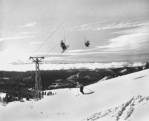 Magic Mile - 1940s image of the Magic Mile just above Timberline Lodge (center) taken by Ray Atkeson
