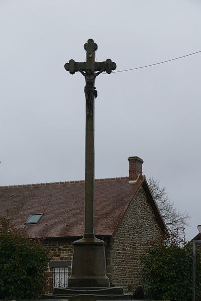 Monumental cross in Magny-le-Désert (Orne, Normandie, France).