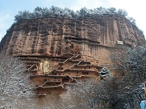 Maijishan Grottoes - View of Maijishan hill caves, grottoes and stairways