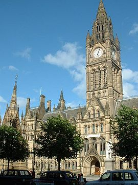 Manchester Town Hall, used for the local governance of Manchester, is an example of Victorian era Gothic revival architecture.