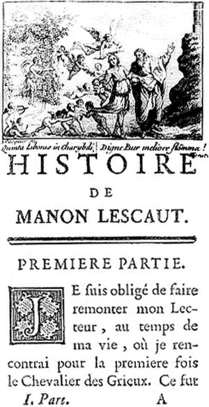 Manon Lescaut - First page of the redacted 1753 edition of Manon LescautD