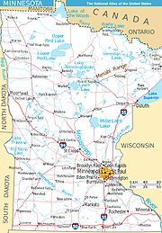 Map Minnesota west NA
