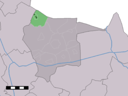 The town centre (dark green) and the statistical district (light green) of Langeveen in the municipality of Tubbergen.