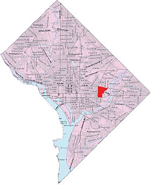 Kingman Park - Map of Washington, D.C., with Kingman Park highlighted in red