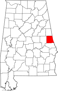 Map of Алабама highlighting Chambers County