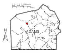 Map showing Arendtsville in Adams County