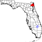 A state map highlighting Duval County in the corner part of the state. It is medium in size.