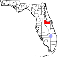 Map of Florida highlighting Orange County