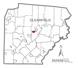 Map showing Hyde in Clearfield County
