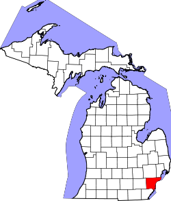 Map of Michigan highlighting Wayne County.svg