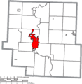 Map of Muskingum County Ohio Highlighting Zanesville City.png
