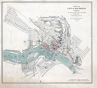 Richmond in the American Civil War - Map of Richmond during the war; areas burnt during the evacuation in red