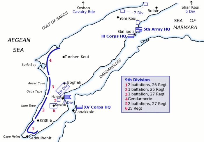 Map of Turkish forces at Gallipoli April 1915