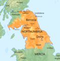 Map of the Anglo-Saxon Kingdom of Northumbria around 700 AD orange on green with labels.png