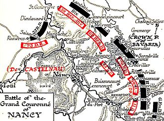 Battle of Grand Couronné - Image: Map of the Battle of Grand Couronné 1914