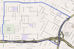 Map of the Pico-Union neighborhood of  Los Angeles, as delineated by the Los Angeles Times