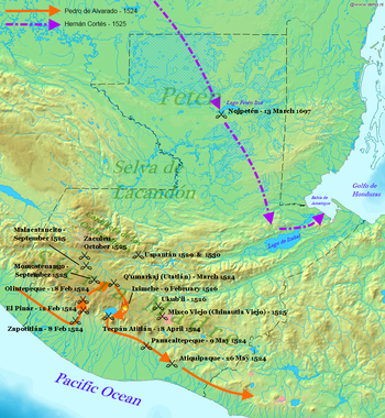 Pedro de Alvarado entered Guatemala from the west along the southern Pacific plain in 1524, before swinging northwards and fighting a number of battles to enter the highlands. He then executed a broad loop around the north side of the highland Lake Atitlán, fighting further battles along the way, before descending southwards once more into the Pacific lowlands. Two more battles were fought as his forces headed east into what is now El Salvador. In 1525 Hernán Cortés entered northern Guatemala from the north, crossed to Lake Petén Itzá and continued roughly southeast to Lake Izabal before turning east to the Gulf of Honduras.