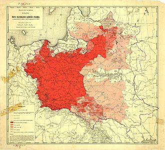 Kresy - Map of Polish population before the rebirth of Poland from the German occupation authorities in 1916