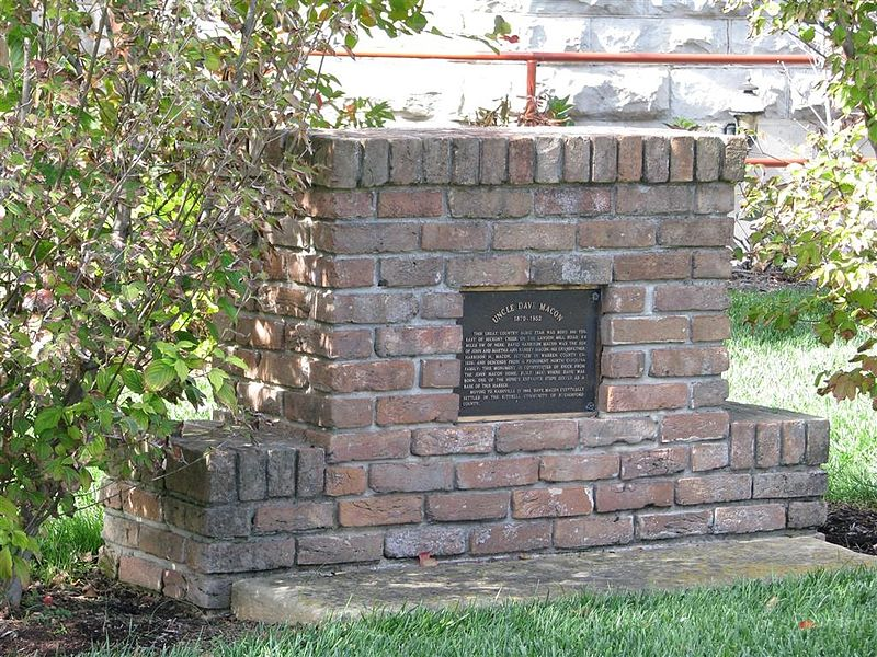 File:Marker composed of bricks from Macon's birthplace.jpg