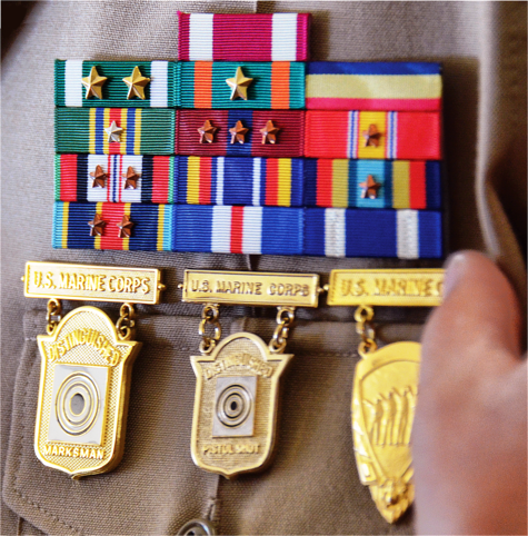 Marksmanship Competition Badges on Marine Uniform