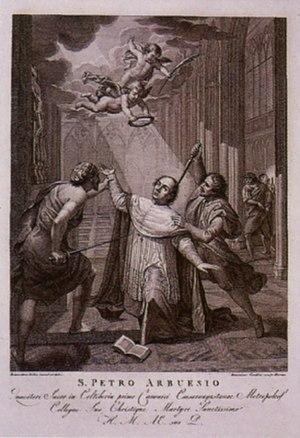 Pedro de Arbués - The Martyrdom of Saint Pedro de Arbués - Francesco Cecchini (late 17th century).
