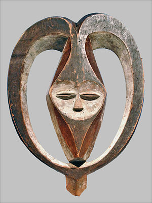 Kwele people - horned mask of pigmented wood, Musée du quai Branly, Paris
