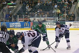Florida Everblades - Mathieu Roy of the Everblades and Ryan Murphy of the Charlotte Checkers await a faceoff during a game on March 9, 2009. Roy is wearing the alternate green uniform of the Everblades.