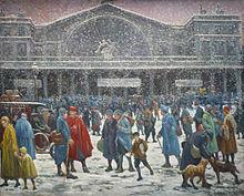 La Gare de l'Est en la nieve, 1917, Musée de l'Hôtel-Dieu