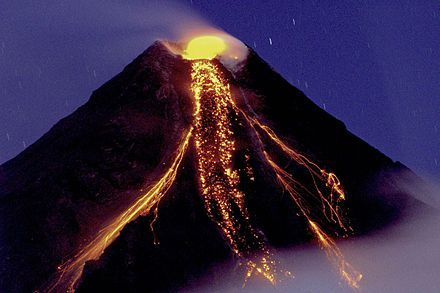 Mayon Volcano extruding lava flows during its eruption on December 29, 2009 Mayon 0052.jpg