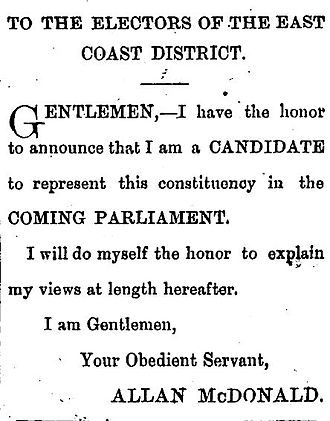 Allan McDonald (New Zealand politician) - 1879 election advert placed by McDonald in The Poverty Bay Herald