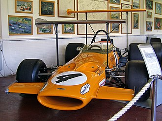 1969 Formula One season - The McLaren M7C with early 1969 high-position wings attached. In the Donington Grand Prix Collection.