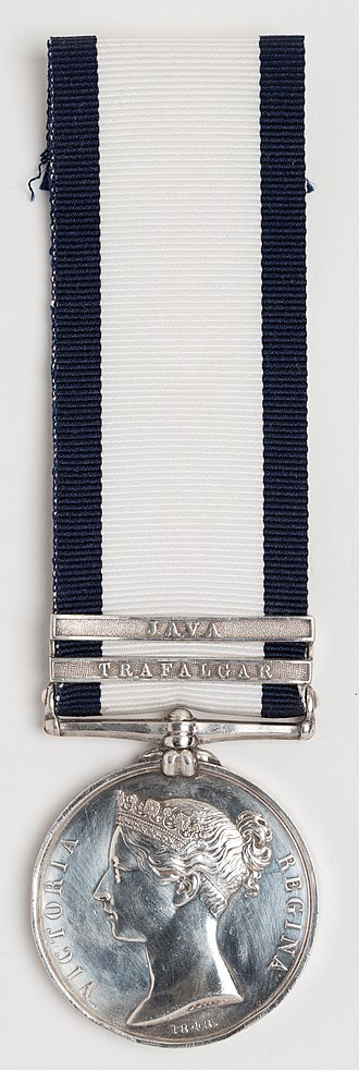 Naval General Service Medal (1847) - Medal awarded to Corporal Henry Castle, Royal Marines, with clasps 'Trafalgar' (HMS Britannia) and 'Java' (HMS Hussar)