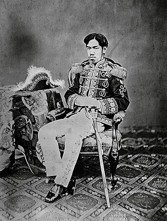 Emperor Meiji - The young Meiji emperor in military dress, by Uchida Kuichi in 1873