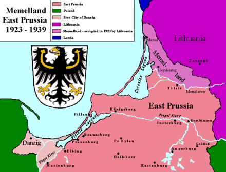 Historical map of Memelland and the northern part of East Prussia. Memelland 1923-1939.png