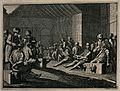 Men are sitting with their legs in stocks and their hands ti Wellcome V0041235.jpg