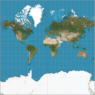 Mercator projection Map projection for navigational use that distorts areas far from the equator