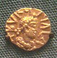 Merovingian tremisses minted in Bordeaux by the Church of Saint Etienne late 6th century.jpg