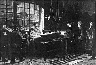 Metre - Creating the metre-alloy in 1874 at the Conservatoire des Arts et Métiers. Present Henri Tresca, George Matthey, Saint-Claire Deville and Debray
