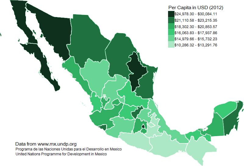 Mexico GDP per capita 2012