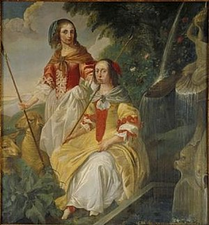 Michael Angelo Immenraet - Double portrait of Odila en Philippine van Wassenaer as Shepherdesses