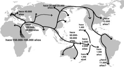 Mapa de las migraciones humanas fuera de África, versión de Naruya